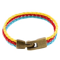 Simple Multicolor Yellow Red And Blue Multi Strands Leather Beads Charms Bracelets Fit All Brands