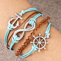 Infinity Bracelet Wheel Anchor Aquamarine Blue Braided Leather Rope