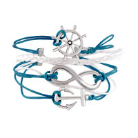 Infinity Bracelet Wheel Anchor Blue Leather Rope Bangle