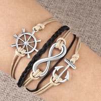 Infinity Bracelet Leather Rope Nautical Wheel Anchor Coffee Brown