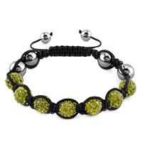 Shambhala Bracelet Peridot Green Crystal Stone Balls Beaded