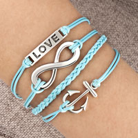 Infinity Bracelet Anchor Love Blue Braided Leather Rope Bangle