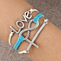 Infinity Bracelet Sideways Cross Love Blue Braided Leather Rope Bangle