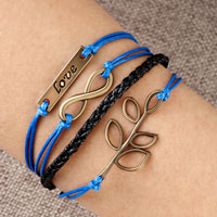 Infinity Bracelet Love Christmas Tree Of Life Sapphire Blue Braided Leather Rope