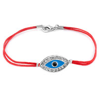 Evil Eyes Bracelets Silver Lobster Clasp Vermeil Red Double Strands String Sideways Iced Evil Eye Bracelet