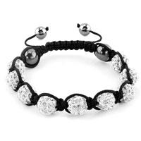 Shambhala Bracelets Clear White Crystal Stone Balls Adjustable Lace Bracelet