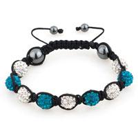 Shambhala Bracelets White Blue Topaz Crystal Stone Balls Adjustable Lace Bracelet
