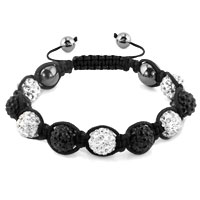 Shambhala Bracelets White Black Crystal Stone Balls Adjustable Lace Bracelet