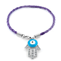 Authentic Clear White Color Crystals Evil Eye Hamsa Hand Of Fatima Braided Purple Leather Bracelet