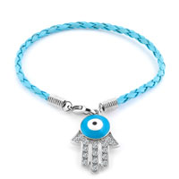 Authentic Clear White Color Crystals Evil Eye Hamsa Hand Of Fatima Braided Aquamarine Blue Leather Bracelet