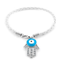 Authentic Clear White Color Crystals Evil Eye Hamsa Hand Of Fatima Braided Clear White Leather Bracelet