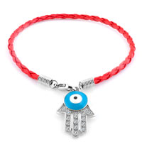 Authentic Clear White Color Crystals Evil Eye Hamsa Hand Of Fatima Braided Light Red Leather Bracelet