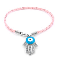 Authentic Clear White Color Crystals Evil Eye Hamsa Hand Of Fatima Braided Rose Pink Leather Bracelet