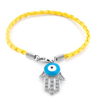 Authentic Clear White Color Crystals Evil Eye Hamsa Hand Of Fatima Braided Lemon Yellow Leather Bracelet