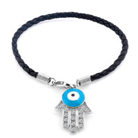 Authentic Clear White Color Crystals Evil Eye Hamsa Hand Of Fatima Braided Black Leather Bracelet