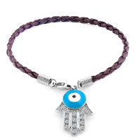Authentic Clear White Color Crystals Evil Eye Hamsa Hand Of Fatima Braided Brown Leather Bracelet