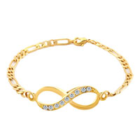 Infinity Bracelets Bracelet Gold Plated Clear White Lobster Clasp