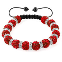 Shamballa Bracelet Light Red Silver Crystal Disco Balls Lace Adjustable