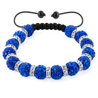 Shamballa Bracelet Sapphire Blue Silver Crystal Disco Balls Lace Adjustable