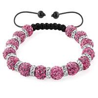 Shamballa Bracelet Rose Pink Silver Crystal Disco Balls Lace Adjustable