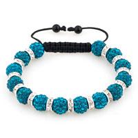 Shamballa Bracelet Blue Topaz Silver Crystal Disco Balls Lace Adjustable