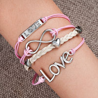 Infinity Bracelets Anchor Sideways Heart Love Pink Braided Leather Rope Bangle Bracelet