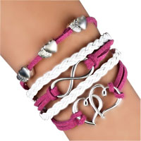 Infinity Bracelets Sideways Heart Love Red Braided Leather Rope Bangle Bracelet
