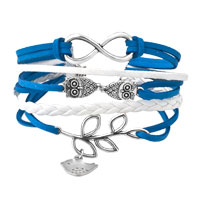 Infinity Bracelets Owl Sideways Tree Of Life Royal Blue Braided Leather Rope Bangle Bracelet