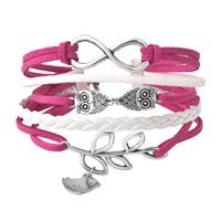 Infinity Bracelets Owl Sideways Tree Of Life Pink Braided Leather Rope Bangle Bracelet