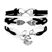 Infinity Bracelets Owl Sideways Tree Of Life Black Braided Leather Rope Bangle Bracelet