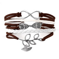 Infinity Bracelets Owl Sideways Tree Of Life Brown Braided Leather Rope Bangle Bracelet