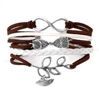 Infinity Bracelets Owl Sideways Tree Of Life Brown Braided Leather Rope Bangle Bracelet