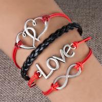 Infinity Bracelets Sideways Heart Love Color Braided Leather Rope Bangle Bracelet