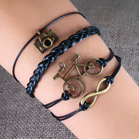Camera Sideways Infinity Bracelets Bicycle Black Braided Leather Rope Bangle Bracelet