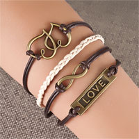 Heart Love Sideways Infinity Bracelets Brown Braided Leather Rope Bangle Bracelet