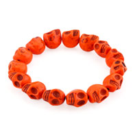 Howlite Orange Yellow Elastic Gothic Skull Bracelet Beads Buddhist Prayer