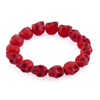 Howlite Red Turquoise Elastic Gothic Skull Bracelet Beads Buddhist Prayer