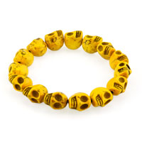 Howlite Lemon Yellow Turquoise Elastic Gothic Skull Bracelet Beads Buddhist Prayer