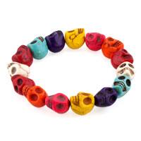 Howlite Turquoise Elastic Gothic Skull Bracelet Beads Buddhist Prayer