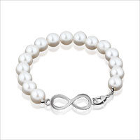 Sideaway Infinity Pink Freshwater Cultured Pearl Bead Stretch Bracelet