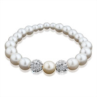 White Crystal Freshwater Cultured Pearl Bead Stretch Bracelet