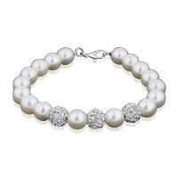 Clear White Crystal Freshwater Cultured Pearl Bracelet