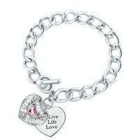 Double Hearts Charm Cable Chunky Chain Toggle Clasp Bracelet