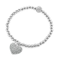 Silver Beaded Heart Charm Cable Chunky Chain Toggle Clasp Bracelet