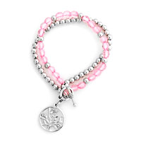 Pink Beaded Heart Charm Cable Chunky Chain Toggle Clasp Bracelet