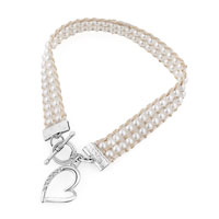 Clear Crystal Open Heart Pearl Charms Chain Link Toggle Bangle Bracelet