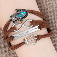 Evil Eyes Silver P Anchor Coffee Leather Multilayer Infinity Bracelet