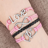 Silver Plated Love Double Hearts Pink Black Leather Charms Bracelet