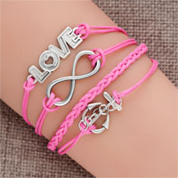 Jewelry Vintage Iced Out Silver Infinity Bracelet Love Pink Leather Rope Anchor