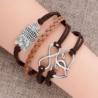 New Vintage Iced Out Silver Infinity Bracelet Open Heart Owl Brown Leather Rope
